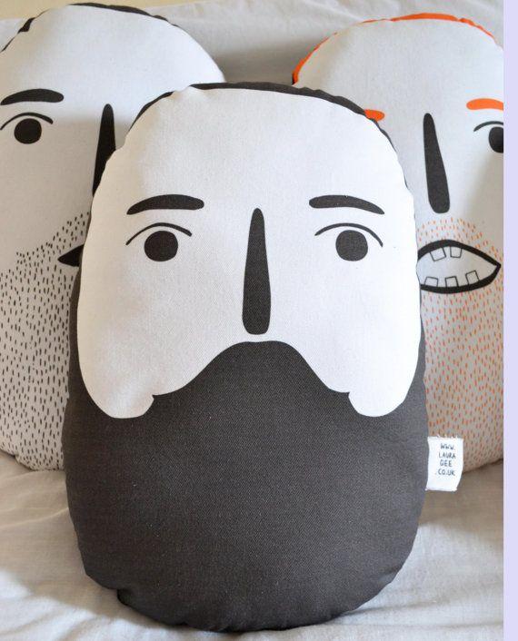Beardy Man Dennis Cushion Beard Head Pillow Plush door oohmygee, £35.00
