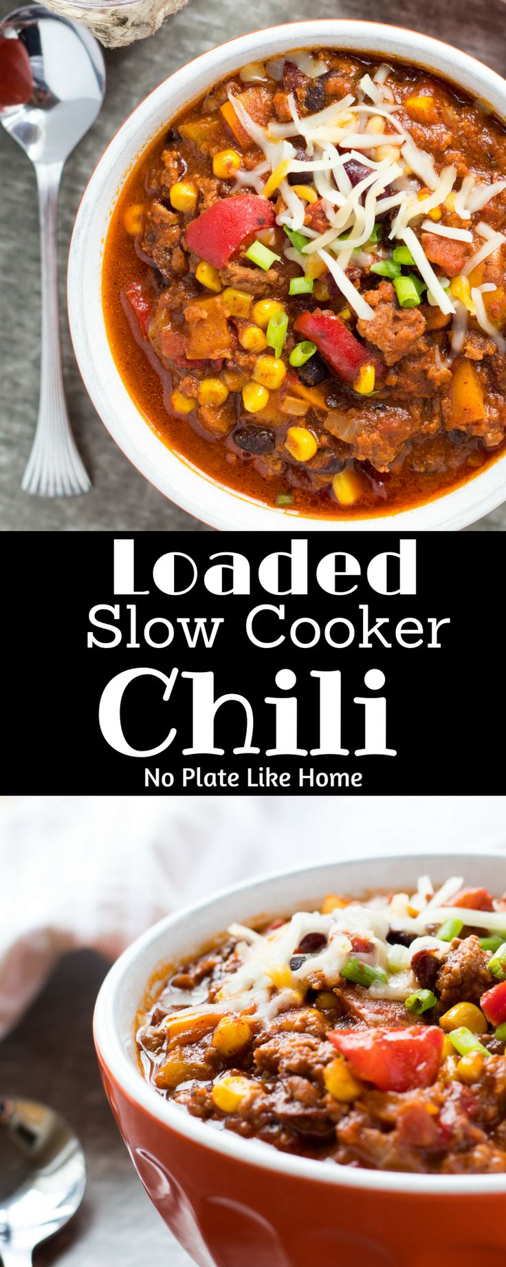 This Loaded Slow Cooker Santa Fe Chili is loaded with ground beef, beans, corn, rainbow bell peppers and spices. Sweetened with honey. Tasty game day food!