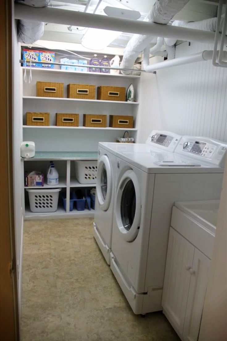 I like this basement laundry nook /laundry area