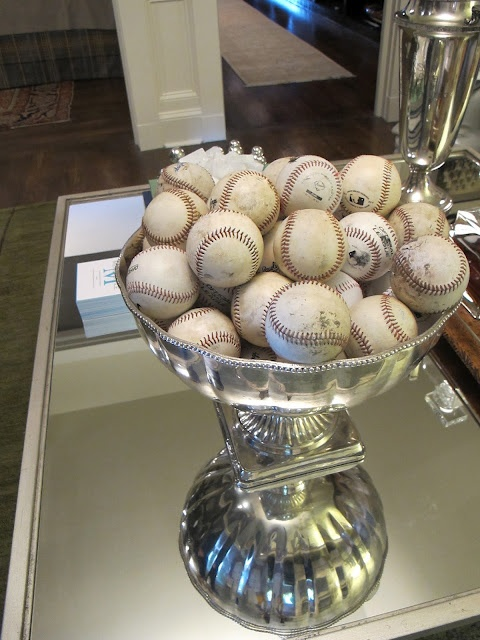 Now...I know what to do with my silver punch bowl........Oh...I do love the oddness of it all....;-0) - design indulgenceBaseball Mom, Golf Ball, Baseball Decor, Cute Ideas, Baseball Party, Caves Decor, Baseball Season, Design Indulgence, Man Caves