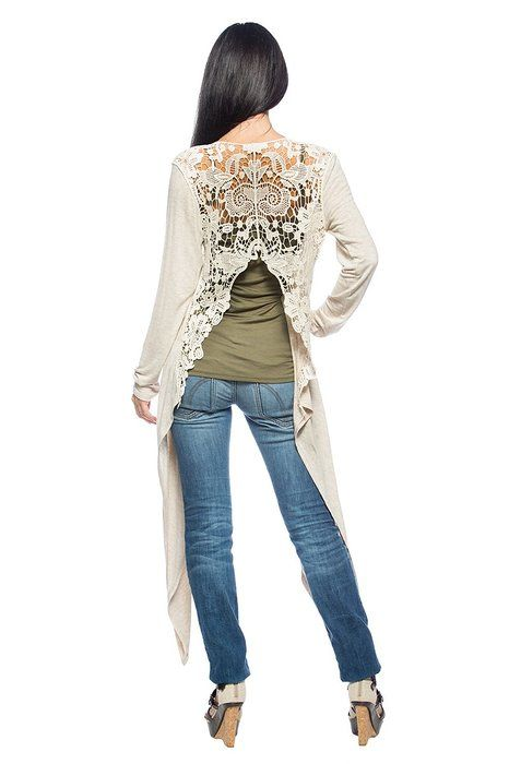 Women's Plus Beige Sheer Crochet Back Romantic Boho Long Shrug Jacket Cardigan (XL)