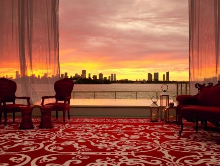 Sunset over Miami Harbour from Mondrian South Beach Hotel