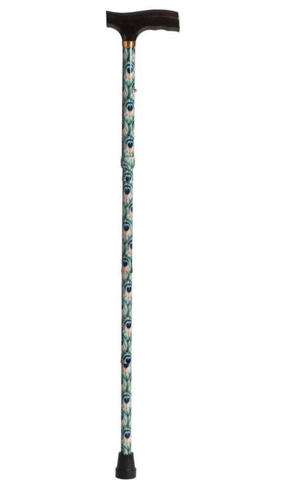 Lightweight Walking Cane Adjustable Folding Cane with T Handle - Peacock Decor #Drive