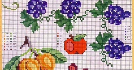 Σχέδια για κεντήματα, εργόχειρα, φρούτα για κέντημα όλο γεύση, σταυροβελονιά, Designs for embroidery with fruit, Disegni per il ricamo con la frutta, Entwürfe für Stickereien mit Obst
