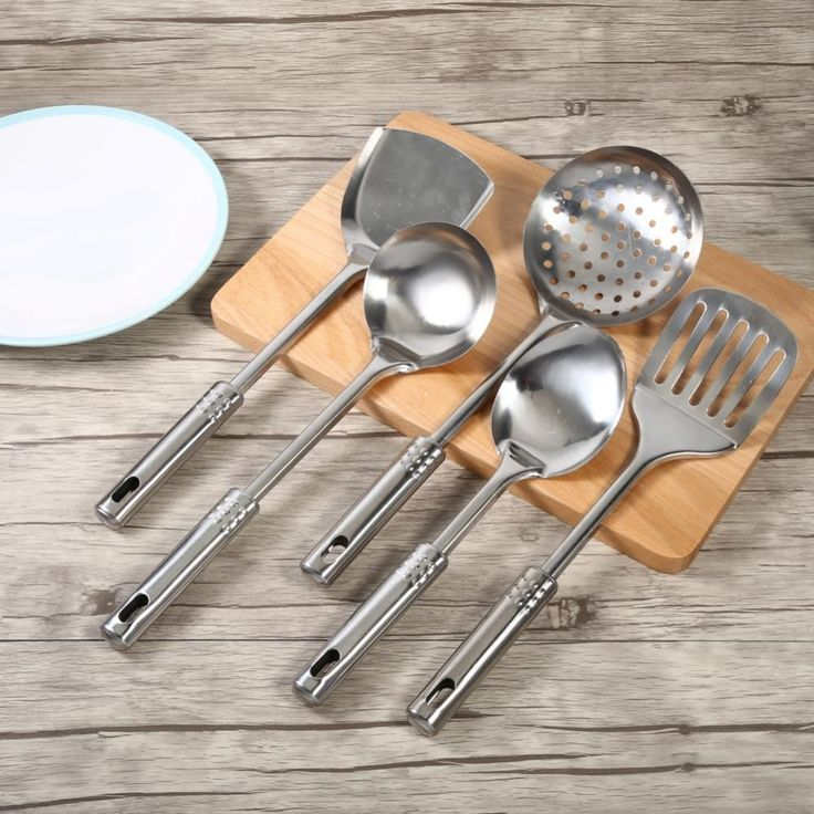 5Pcs/Set Kitchen Cooking Utensil Set Stainless Steel Kitchen Tool Spoons Shovel Spatula Cooking Tools High Quality