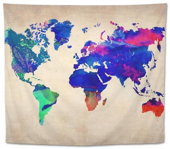 World Watercolor Map 2 Tapestry By Naxart Watercolor Map Hand