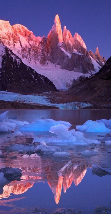 Crimson crags of Cerro Torre Mountain in Patagonia, Chile