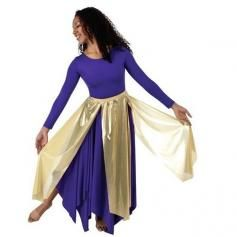 Worship Church Dance Metallic Long Panel Skirt gold and silver $18.95 | ewoomall