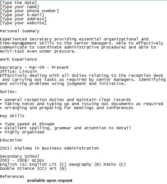 Secretary cv example Cv examples, Find a job, Under pressure