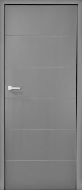 Monaco Bespoke Flush Painted Internal Door 44mm bespoke solid core flush painted door with 5 No. 5mm V-shaped  horizontal grooves  painted with a custom paint to a standard 30% gloss sheen  (picture shows Dulux Grey Steel 1). This door design can be painted to  any RAL/BS colour and the groove detail, size and shape can be adapted  to suit any design requirement. Higher gloss paint finishes are  available for additional cost, upon enquiry. Doors supplied with matching concealed 10mm ...