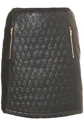Black Quilted Panel Skirt, Topshop