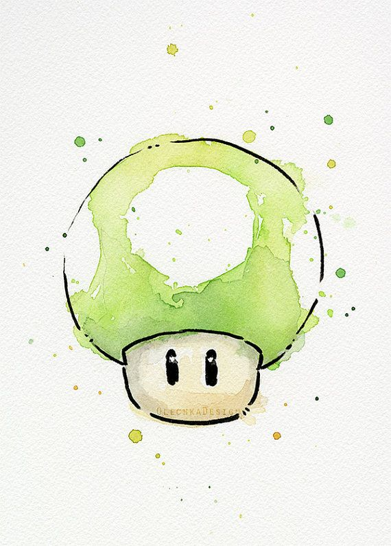 Hey, I found this really awesome Etsy listing at https://www.etsy.com/listing/217849120/1up-mushroom-original-watercolor