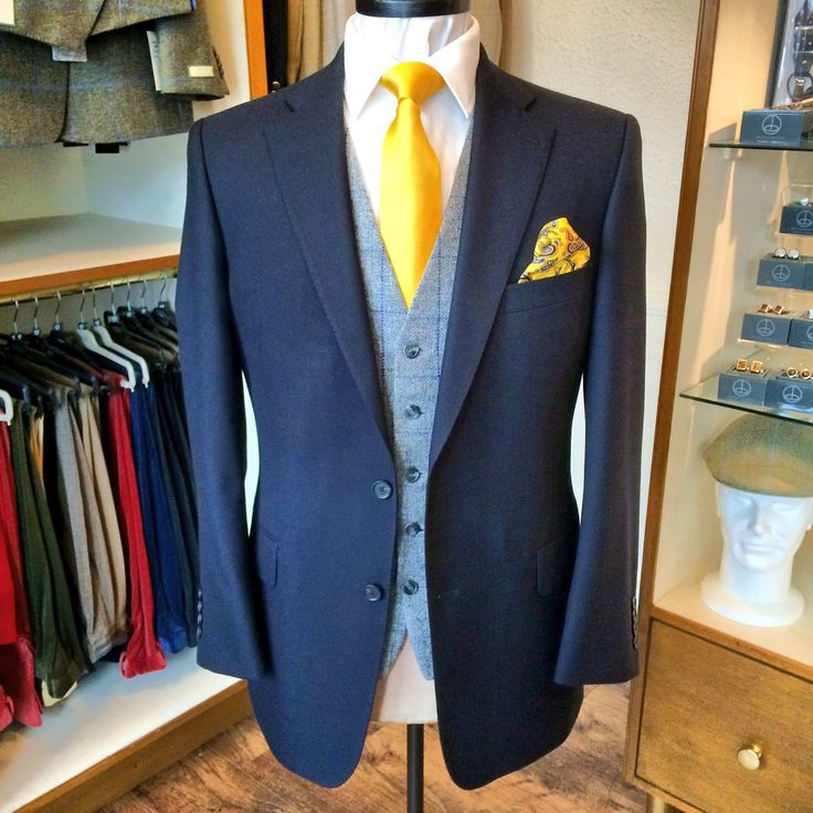 Navy blue Lt weight wool 2-piece wedding suit worn with a silver grey & navy blue check tweed waistcoat ready for final try on and collection next week.