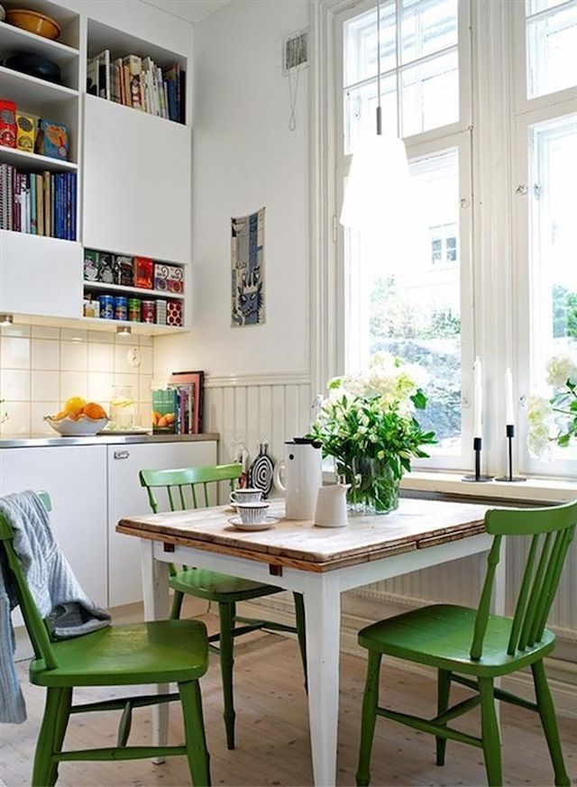 Select one impact piece to use the bold color of Greenery on - such as the chairs in this kitchen. #COTY2017 #Pantone