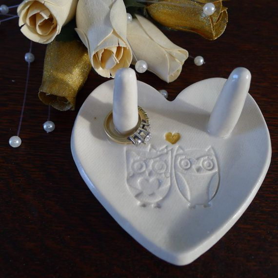 Owl ring holder in White - Bridesmaid gift - Friends gift - Valentine's Day on Etsy, $17.00
