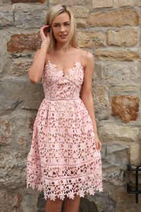 Strappy Pink Cut Out Embroidered Lace Midi Dress   Occasion Dresses Ireland   Fashion Website Ireland