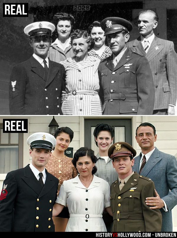 Louis Zamperini and his family in August 1942 in the last family photo before he went to war. He is portrayed by Jack O'Connell in the Unbroken movie. See 'Unbroken: History vs. Hollywood' - http://www.historyvshollywood.com/reelfaces/unbroken/