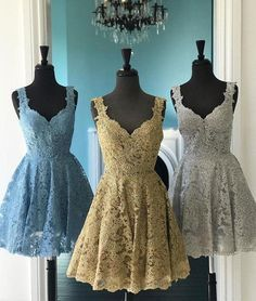 Cute lace short prom dress, lace homecoming dress