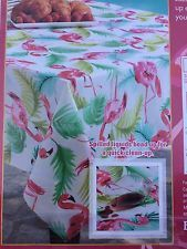 "Benson Mills NWT  Pink Flamingo Tropical Tablecloth 70"" Round"