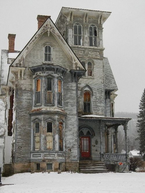 Abandoned.......haunted.......I would live here, unless it really is haunted but I don't believe in ghosts. It's beautiful.