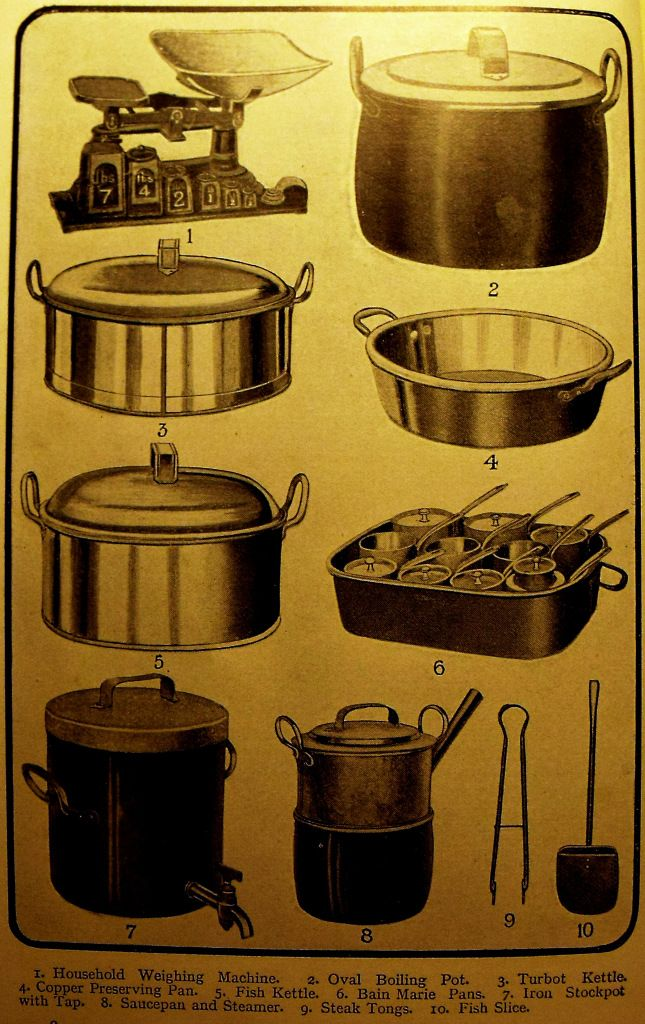 Victorian and Edwardian cooking utensils featured in Mrs Beeton's Book of Household Management, 1915 edition.