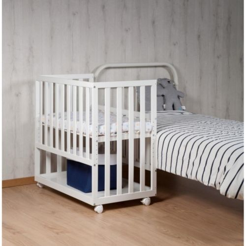 White Baby Bedside Crib Newborn Cot Bed Wooden Bedroom Co Sleeper Wheels Shelf