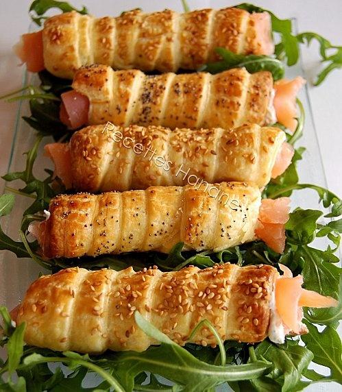 Rouleaux feuilletés au saumon fumé - Recettes Hanane