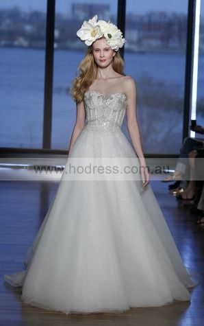 Sleeveless Zipper Tulle Sweetheart Princess Wedding Dresses gjcf1005--Hodress