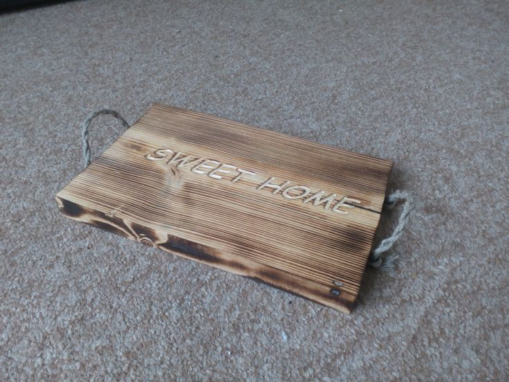 Original serving tray from natural burned pine wood with engraving words by SoulIdeas on Etsy