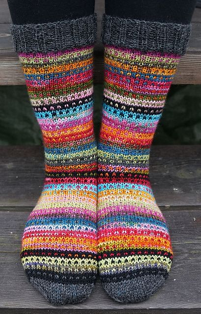 photo inspiration! Uses the Modicum Mitts pattern as inspiration. A Great way to use up odds and ends of sock yarn. Use a basic sock pattern (free in the shop!) and stripe away. Love the grey cuff and toes