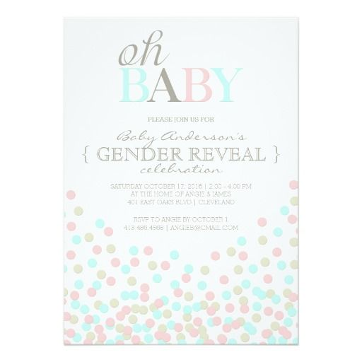 Oh Baby Confetti Gender Reveal Party | Pink Blue 5x7 Paper Invitation Card
