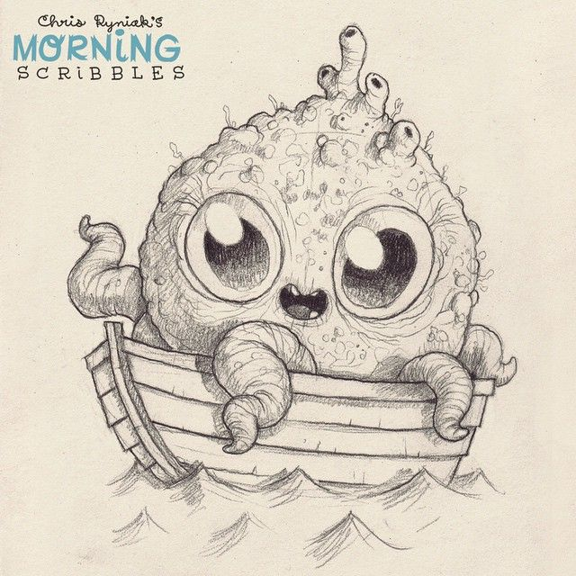 Cute monster Art by Chris Ryniak  Ahoy! #morningscribbles