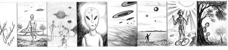 Outros desenhos de ETs e suas naves que rabisquei no ano 2000 usando apenas a caneta esferográfica bic da cor preta.