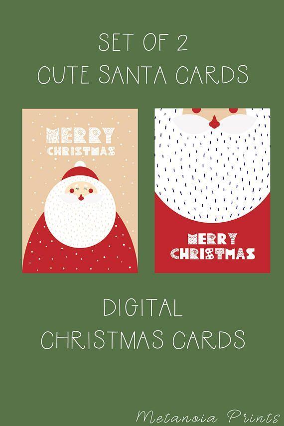 Merry Christmas Santa Card Instant Digital Download Printable
