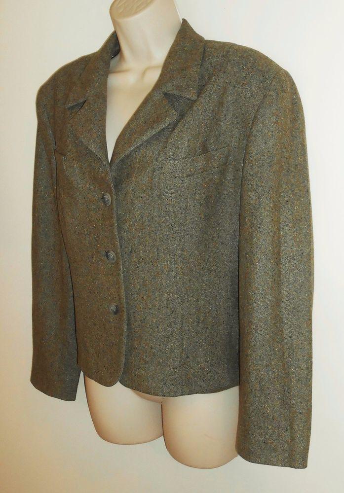 Vtg Burberrys 14 XL Tweed Wool Blazer Petite Olive Army Green Jacket Career #Burberry #Blazer