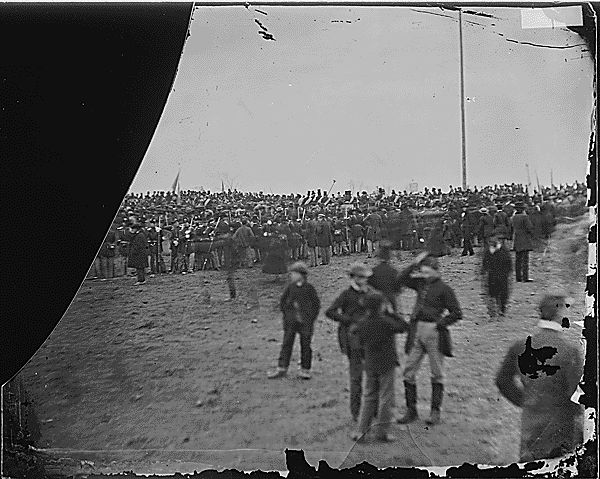 Original uncropped photo of Speakers Stand at Gettyburg. After close examination of this glass plate negative in 1952 by Josephine Cobb, this became the first and only known and proved photo of Lincoln at Gettyburg to deliver his historic speech. (see other photo of cropped detail of this photo of Lincoln in the crowd). Amazing detail and discovery!