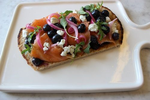 Smoked Salmon Flatbreads with Savory Blueberry Jam and Goat Cheese