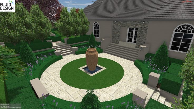 European style front entry courtyard garden w/ large pot water feature as centre piece.