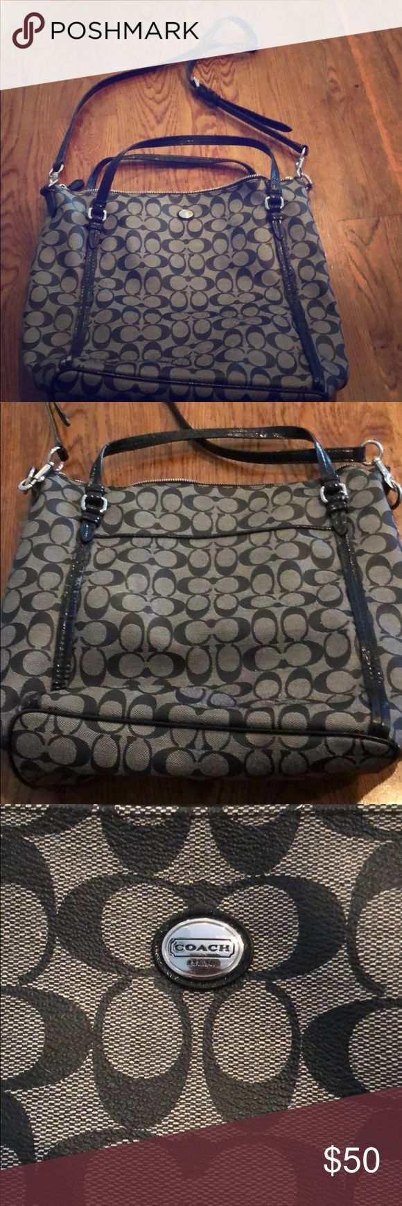 Huge black Coach purse Big black Coach purse; shoulder strap well worn as shown in picture and small stain in the inside as seen otherwise in good condition Coach Bags Hobos