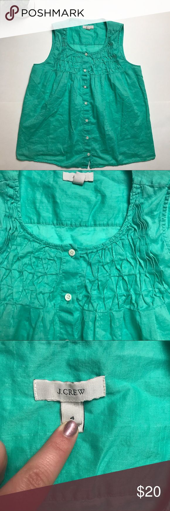 E U C J Crew smocked top in green Cute and float J Crew smocked tank J. Crew Tops Tank Tops