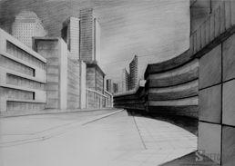 Big city pencil drawing. City of scyscrapers. Rysunek ołówkiem współczesnego miasta