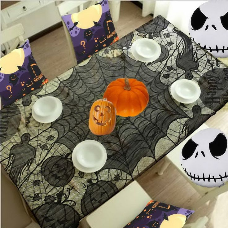 Grisly Bloody Spider Web for Halloween Decoration Black Polyester Halloween Tablecloth Tablecover Festive Party Supplies 60*80in