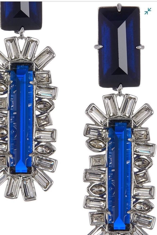 SALE!~THE STATEMENT ALEXIS BITTAR NAVY CRYSTAL CLIP  EARRINGS #AlexisBittar #DropDangle
