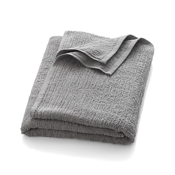 Ribbed Grey Bath Towel | Crate and Barrel