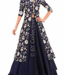 Buy Blue bhagalpuri silk embroidered unstitched bridal-lehengas bridal-lehenga online