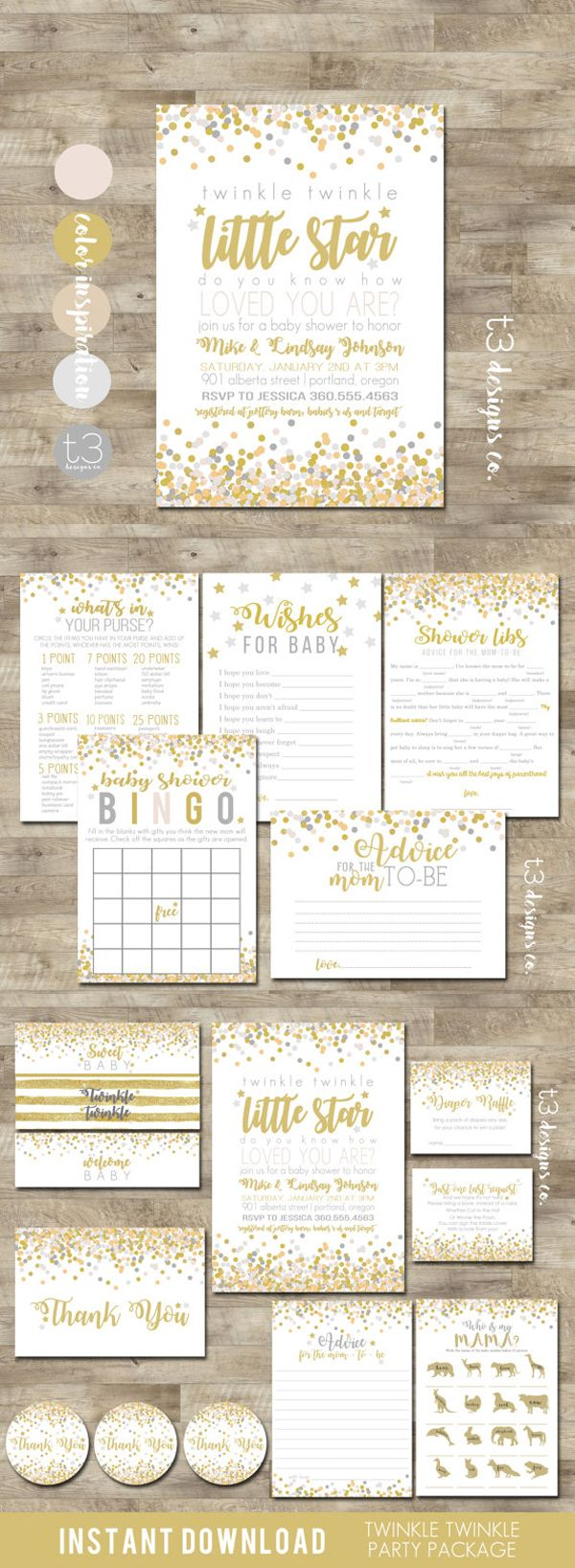 Twinkle Twinkle Little Star Baby Shower Invitation Suite, Gender Neutral Baby Shower Ideas, Baby Shower Invite, Gold, Rose Gold, Silver, Pink, Grey, Baby Shower Games, Advice for the Mom to be Printable Baby Shower games, Thank You's and Invitations #babyshower #babyshowers #babies #pregnancy #genderneutral #babyboy #babygirl