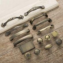 5 stks Antieke Deurgrepen Metalen Lade Knoppen Trekt Vintage Brons Keukenkast Handgrepen en Knoppen Meubels Handvatten(China)