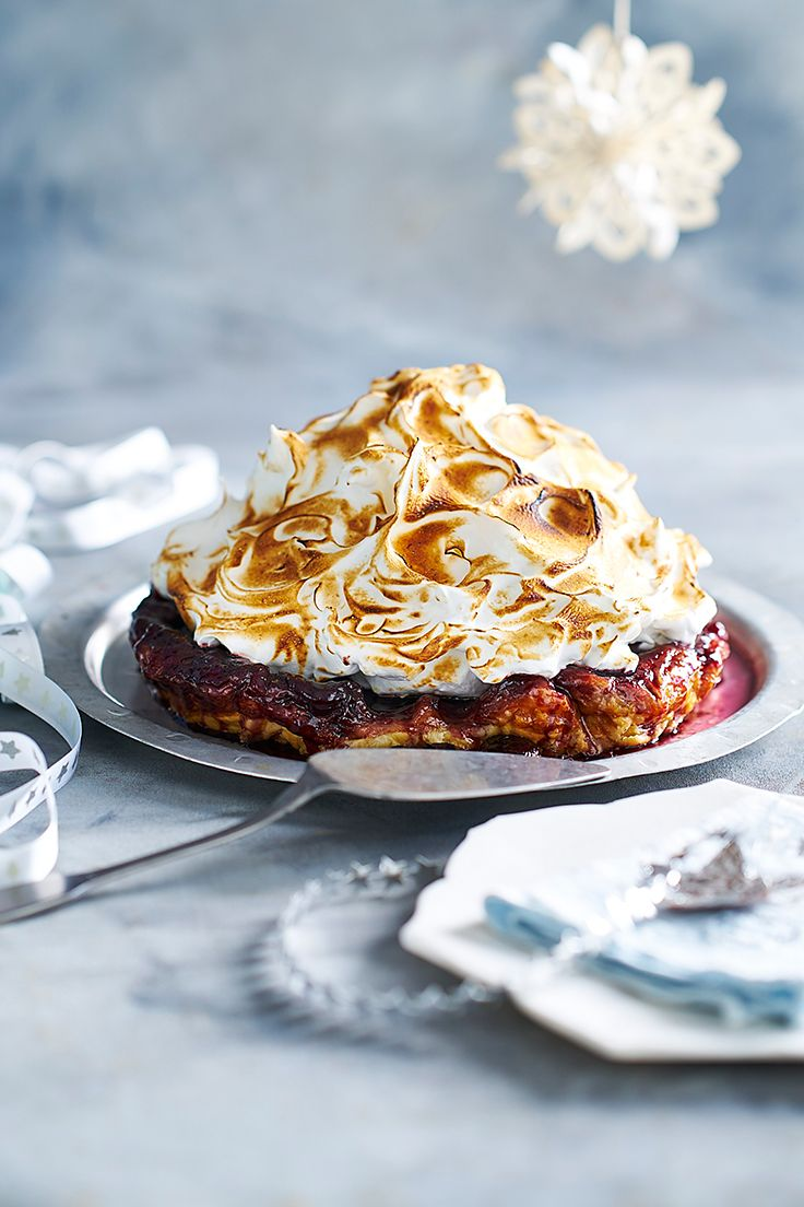 This show-stopper dessert is a triumph of textures, with buttery crisp pastry, toffeed cherries and a cloud of meringue all coming together for the ultimate tarte tatin.
