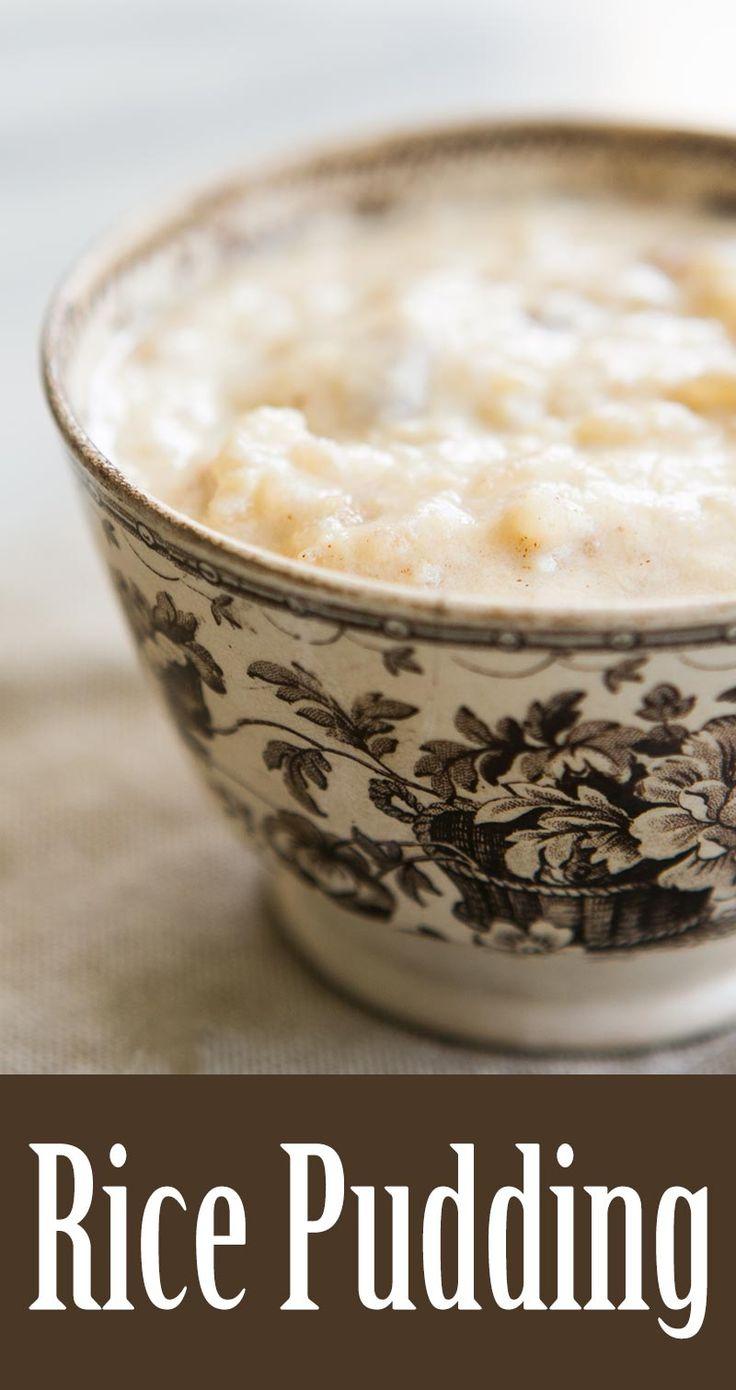 Classic, creamy rice pudding! Boiled rice with milk, cream, egg, brown sugar, cinnamon, vanilla, and raisins. On SimplyRecipes.com
