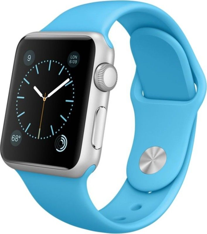Apple Watch Sport 38 mm Silver Aluminium Case with Sport Band Blue Smartwatch Bluetooth Support,Notifier,Digital Crown Heart Rate Sensor, Accelerometer, Gyroscope, Ambient Light Sensor lowest price in India on February 2017 | On Paisaone